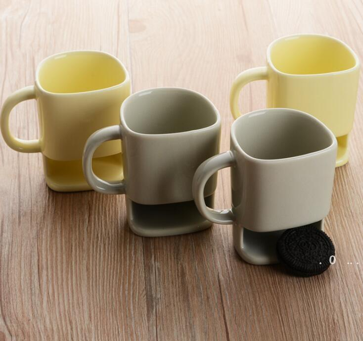 Ceramic Biscuit Cups Ceramic Mugs Coffee Cup Creative Coffee Cookies Milk Dessert Tea Cups Bottom Storage Mugs 4styles EWC6296