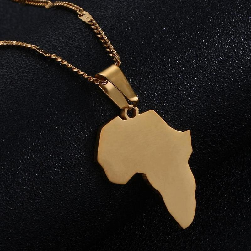 Aço Inoxidável Mapa Africano Colar Pingente Mapa da África Mulheres Jóias