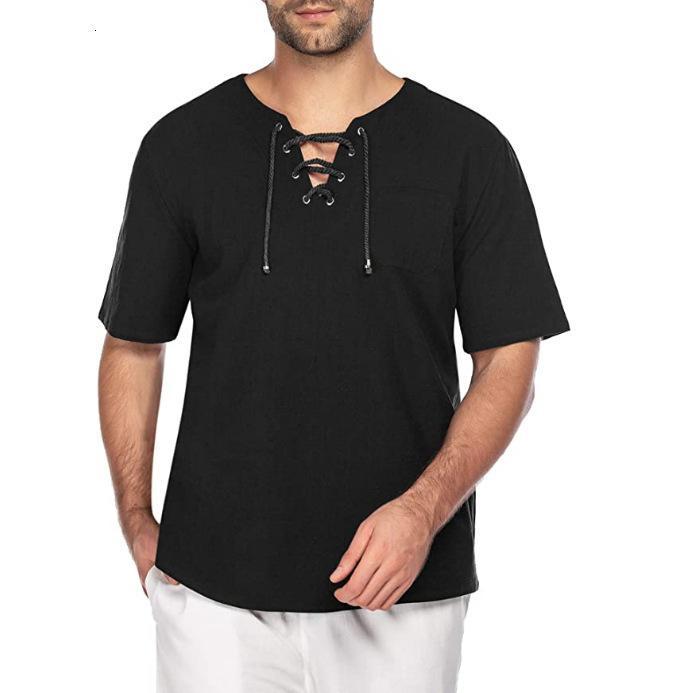 2021 улица Новый мужской с коротким рукавом хлопчатобумажная конопляная кружева повседневная модная футболка