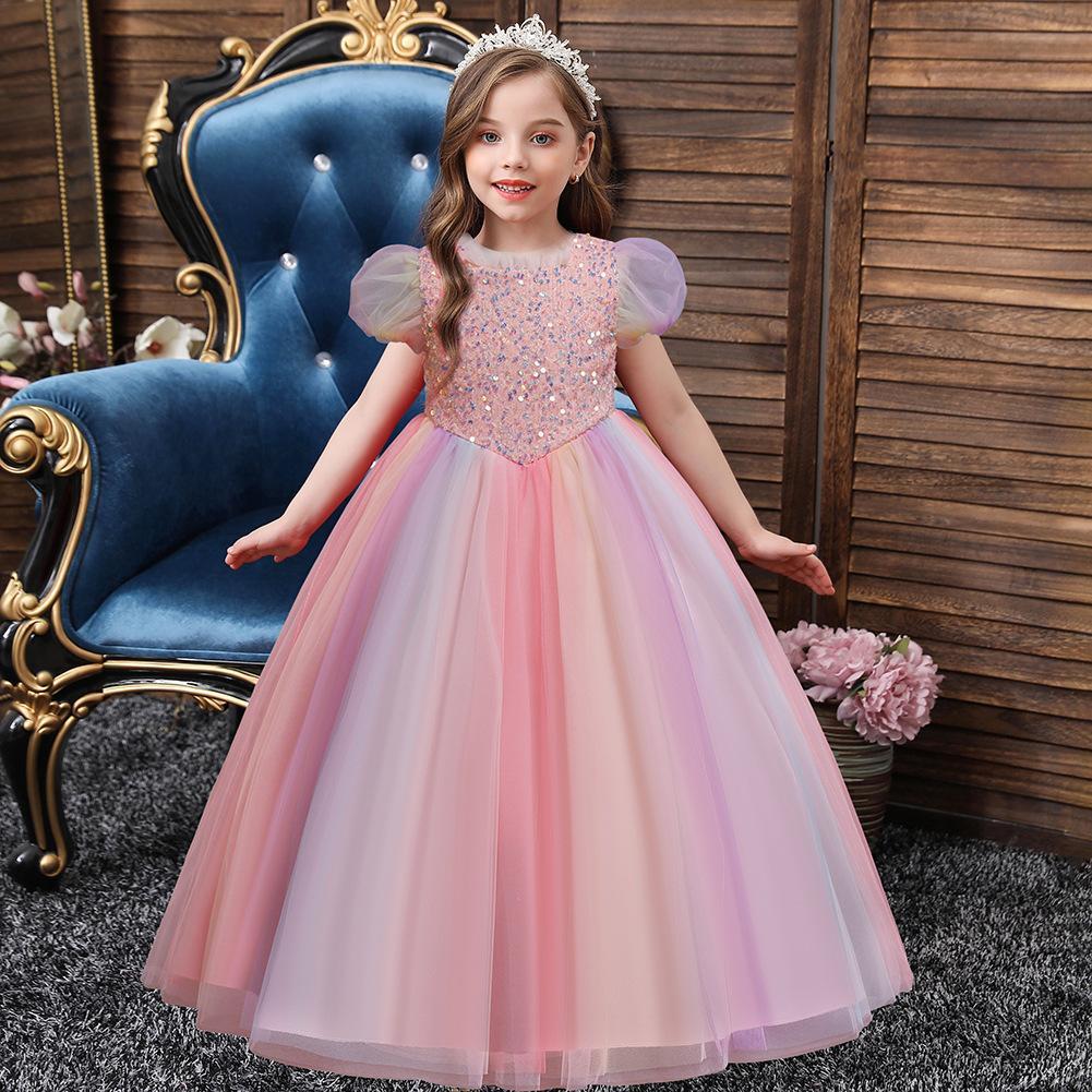2022 блестки розовые линии цветочные девушки платья для девочек вечеринка детские выпускные платья Princess Pageant вечерние платья
