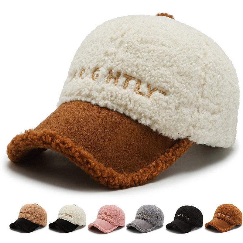 Automne et hiver Lambeau Peluche Capuchon Coréen Coréen à la mode Couleur chaude chaude Capuchon de baseball hiver à la mode