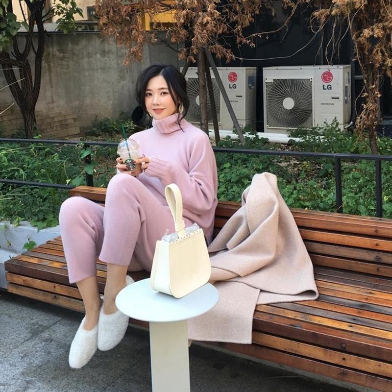 Spring Winter Knitted Tracksuit Turtleneck Sweatshirts Fashion Women Suit Clothing 2 Piece Set Pant Female 210304