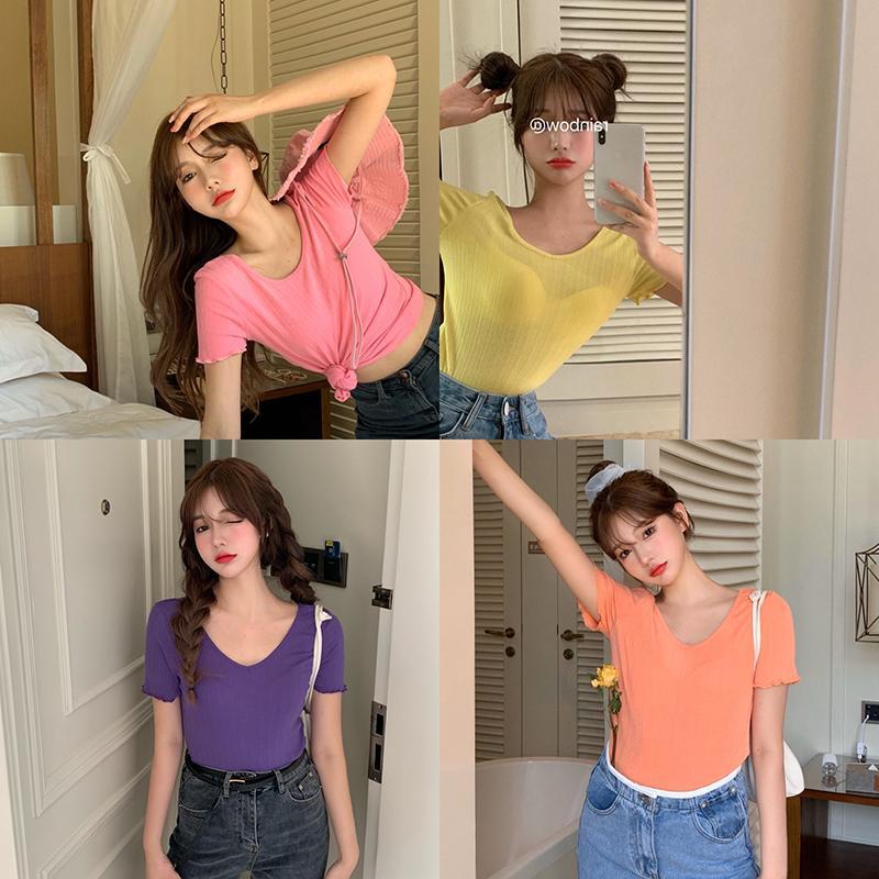 6 цветов 2021 летний V-шеи сплошной цвет корейский стиль тонкий с коротким рукавом футболки женские топы футболка Tee Femme (R98262)