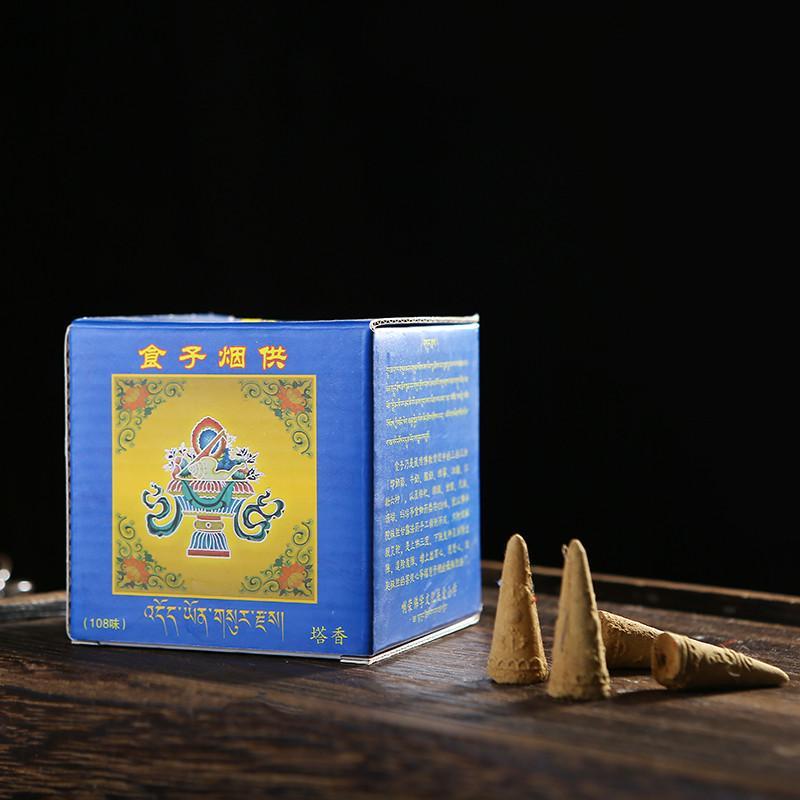 65pcs / Box Religiöse Meditation Tibetaner Rückfluss Räucherkegel Positive Energie Segen Natürliche Aromatherapie für Buddha Teehaus