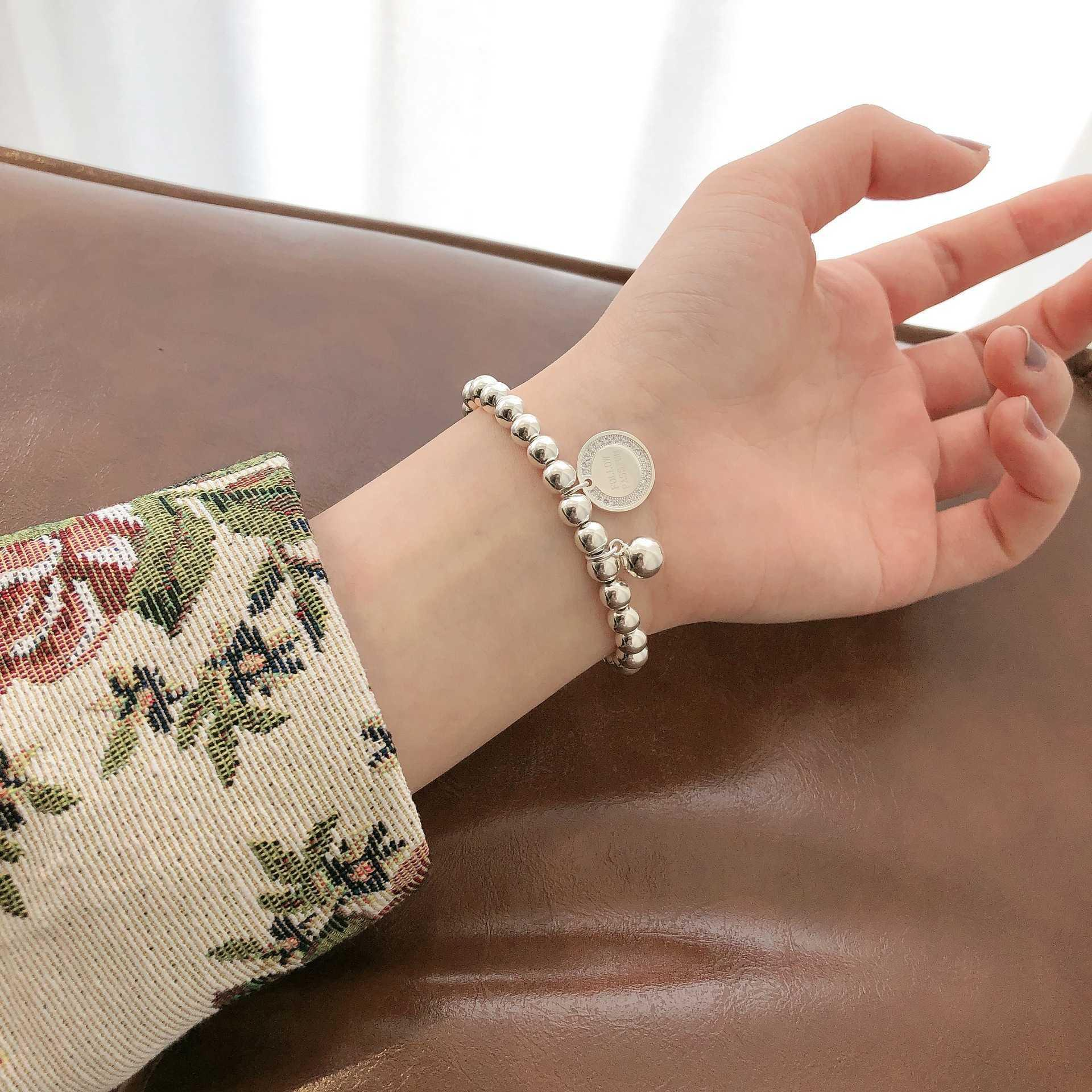 925 Sterling Silver Round Bead Bracelet women's Korean version ins minority design simple diamond inlaid Bead Bracelet 6532