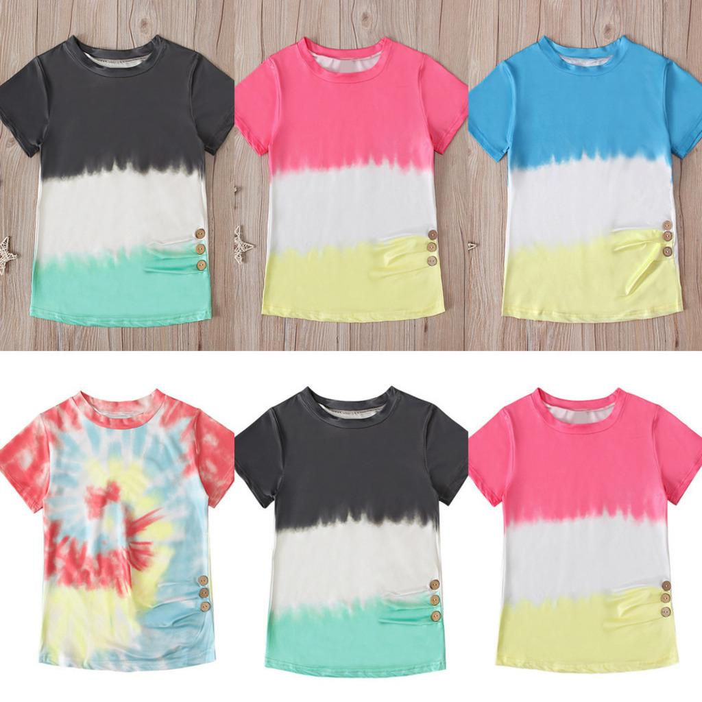 baby Girl's summer short sleeve tshirt color tie dyed pattern round neck T-shirts children's clothes cotton patchwork tee tops with button G60OKZQ