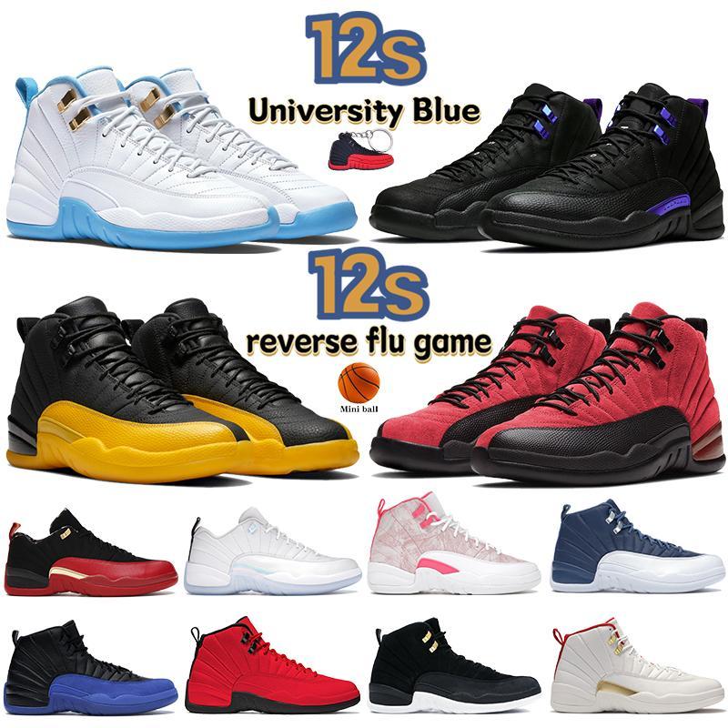 Üniversite Mavi 12 12 S Erkek Basketbol Ayakkabıları Siyah Koyu Concord Ters Flu Oyağı Indigo Düşük SE Metalik Altın Paskalya Kadın Sneakers Erkek Eğitmenler