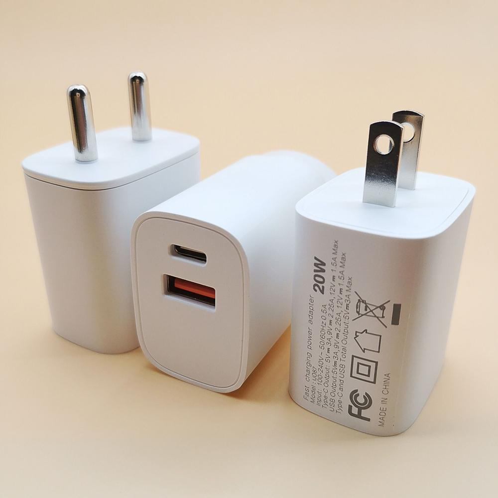 18W/20W PD+QC 3.0 Fast Charger Quick Charge USB-C PD Fast Charging EU US UK Plug USB Charger Double Adapter