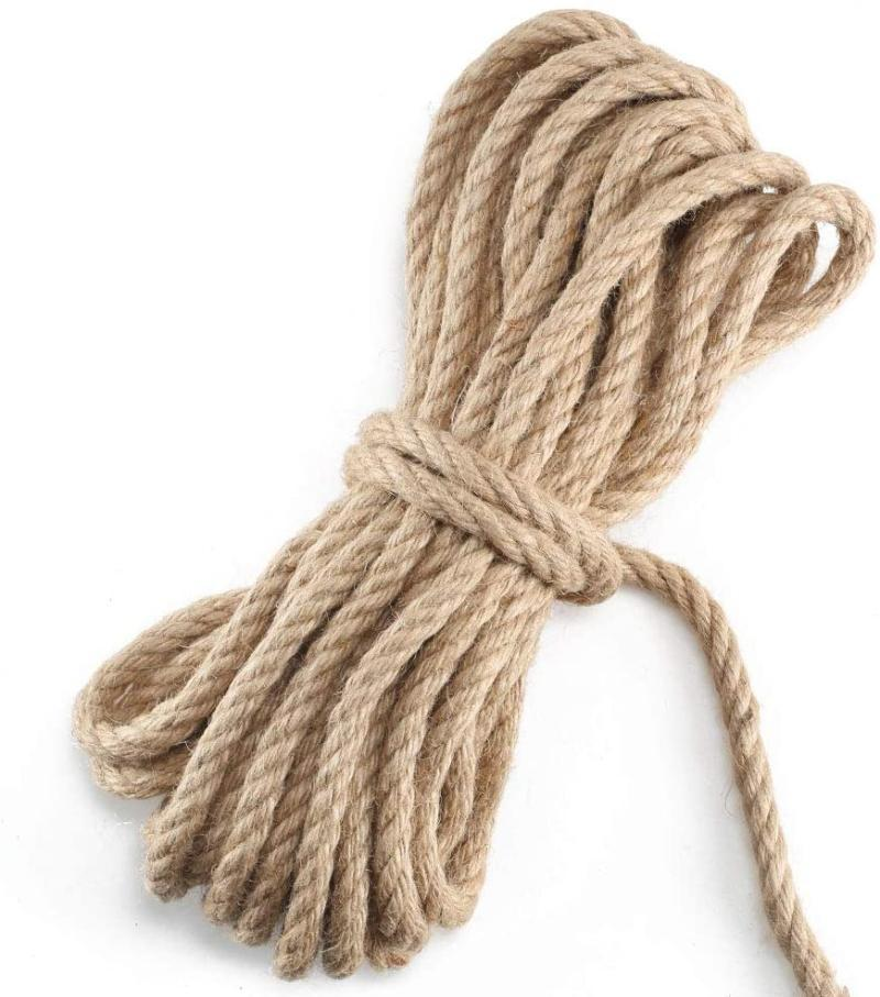 10MM Thick Cord Ropes Strong Natural Twine string Jute Rope for Craft Rope Cat Scratching Post Climbing Gardening Gard