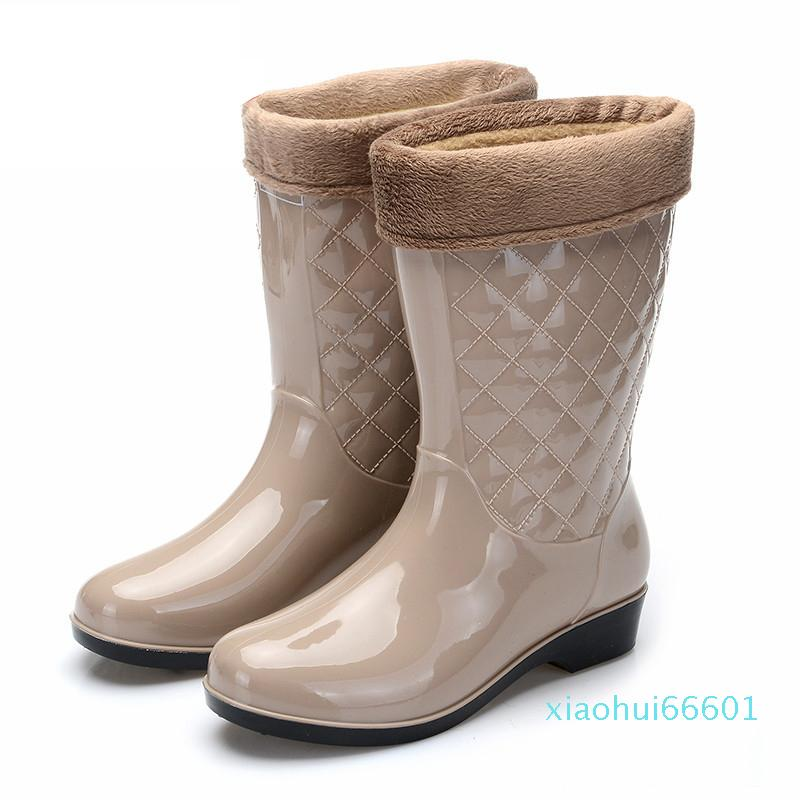 Women Tall Rain Boots Ladies Low Hoof Heels Waterproof Graffiti Buckle High Nubuck Round Toe Rainboots Fashion SD325