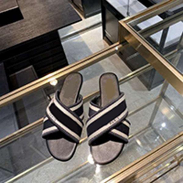 2021 Tasarımcı Lüks Takı Mavi Pamuk Işlemeli Sandalet Flip Flop Çizgili Plaj Deri Çiçek Terlik