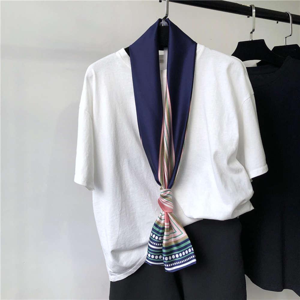 Niña coreana con la bufanda cuadrada versátil de verano, traje de la bufanda de seda, decoración fina estrecha, primavera larga y