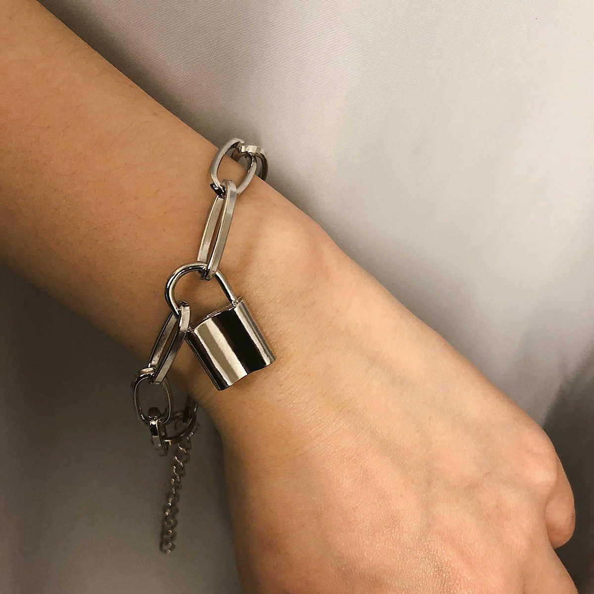Takı kişilik yaratıcı geometrik kolye el süsleme kadın çok yönlü mizaç kilidi basit zincir bilezik