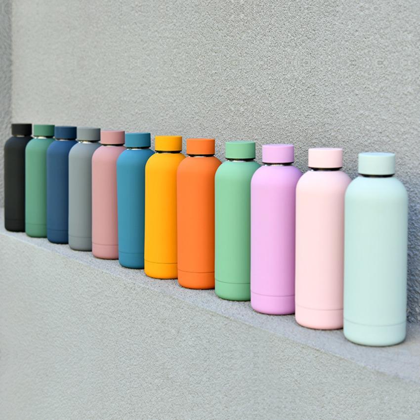0000ml droit de 500 ml givré givré aspirateur isolé sport bouteille bouteille tasse tasse en acier inoxydable bouteille d'eau bouteille de couleur thermos gobelet h32w34f