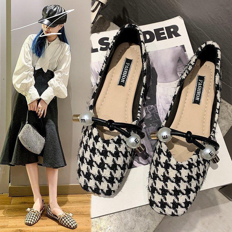 2021 Yeni Stil Kadın Ayakkabı Ekose Kostüm Tüvit Flats Sığ Dize Boncuk Mary Janes Ayakkabı Kare Toe Zapatos Mujer 8913n üzerinde Kayma