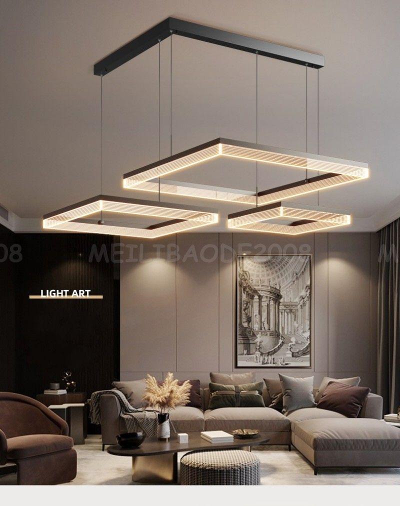 Modern Simple Aluminum LED Chandelier Rectangular Pendant Lamps Black Nordic Lights Lighting Fixture For Living Room Restaurant Dinning Room
