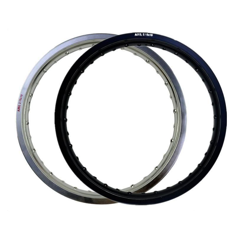 6061 Cercle de roue avant en aluminium en aluminium de la moto noir / en argent / argent 36 36 Trou de rayon 215 x 19 2.15 19 Haute résistance