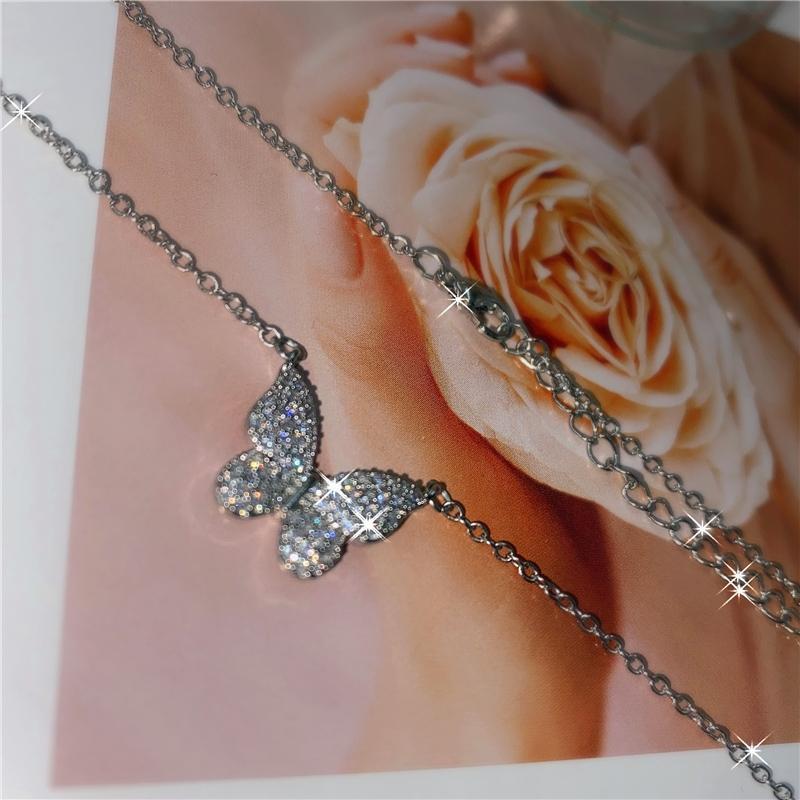 New Ladies Full Zircon Butterfly Necklace Charm Bling CZ Brillante Cristal Mariposa Joyería Colgante Cadena de Moda Bijoux para Mujeres