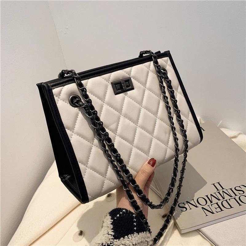 Recién llegado 2021 Fashion Plaid Handbags de alta calidad PU cuero bolso de mujer simple cadena salvaje bolsas de hombro bolsa de hombro