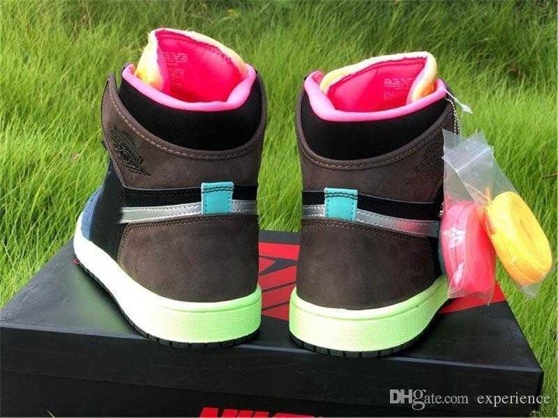 2020 Hava Orijinal 1 Yüksek OG Bio Hack 1 S Barok Kahverengi Siyah Lazer Turuncu Racer Pembe Mens Bayan Spor Ayakkabı Açık Sneakers ile Kutusu