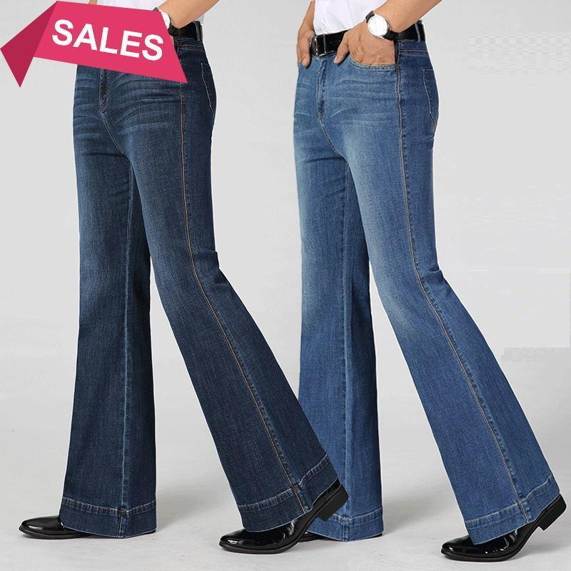Envío gratis de alta calidad 2021 nuevo primavera otoño hombre inteligente casual recorte jeans negocio ancho pantalones pantalones grandes bengalas pantalones