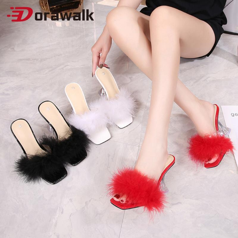 Sandals Furry Fluffy Women Fur High Heels Slippers Summer Outdoor Plush Designer Woman Amazing Shoes Mules Crystal Big Size