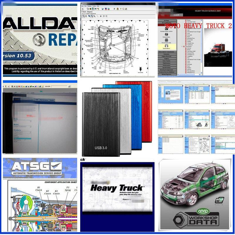 AllData 2021 자동 수리 소프트웨어 모든 데이터 V10.53 + MIT-Chell + 무거운 트럭 + ATSG + VIVID 10.2 24 IN1 모든 자동차 트럭에 대한 1TB HDD