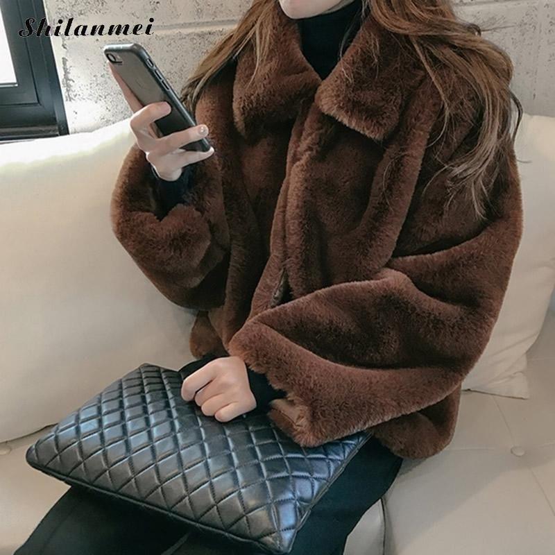 Plus Taille Harajuku Faux Fourrure manteau Femmes Mode Solide Veste Croquée Veste Furry Hiver manteau High Street Dames Dames Outwear 210222