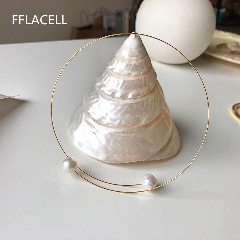 Новые элегантные пресноводные жемчужные металлические ювелирные изделия для женщин для женщин мода мода свадебные цепи ожерелье Bijoux Colares подарки