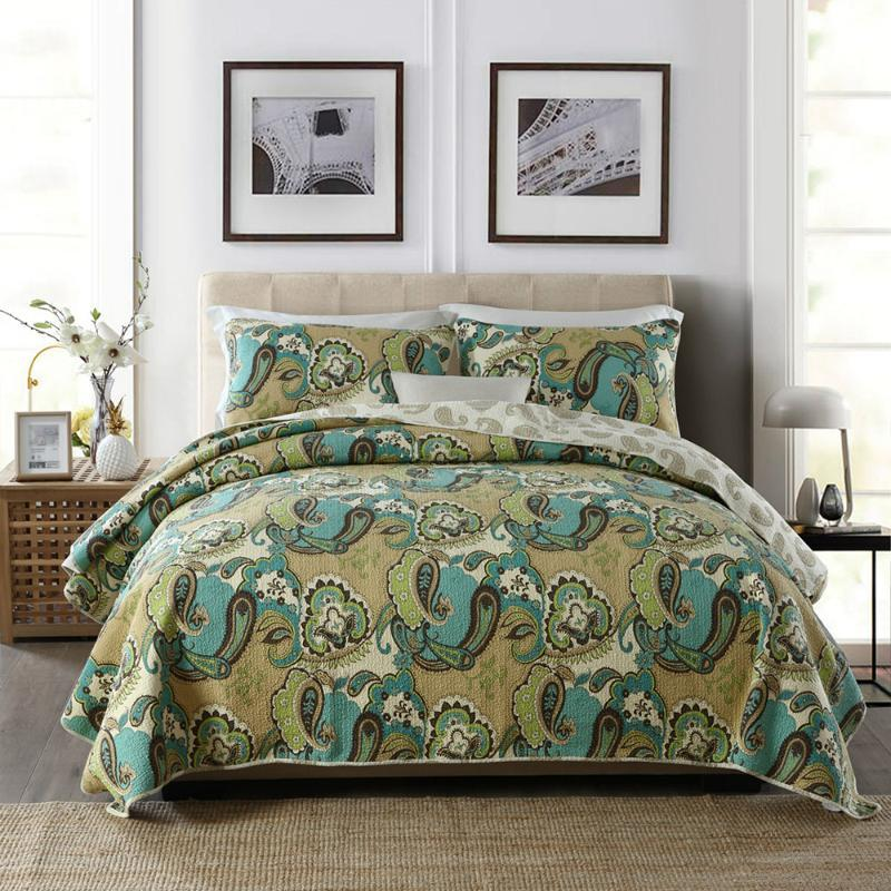 Bettdecken Sets Chauub Gedruckt Quilt Set 3 stücke gewaschene Baumwolle Quilts SteppdeckeEpread Bett Deckbögen Kissenbezug King Size Coveret
