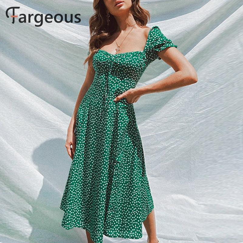 Fargeous Beach Bohemian Verão 2021 mulheres vestido vintage partido elegante vestido feminino midi plissado vestidos verdes vestidos