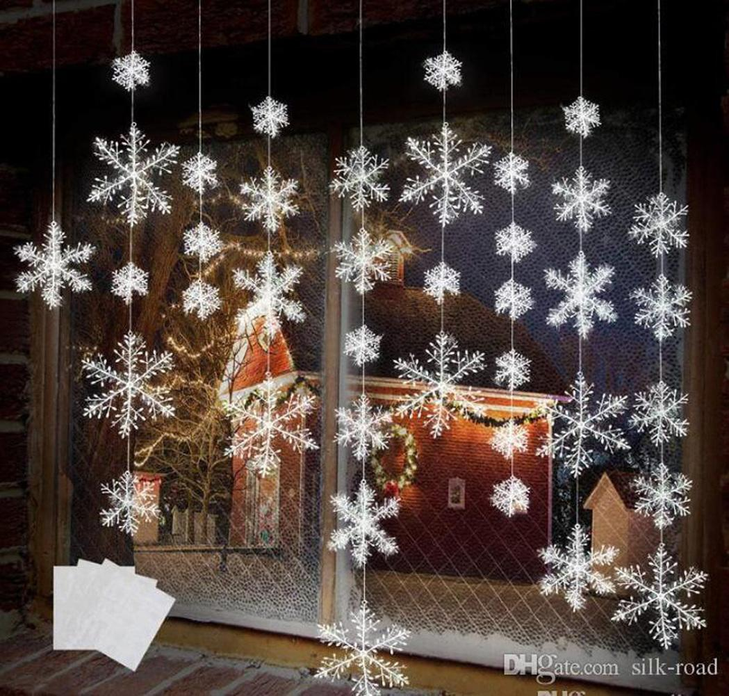 White Snowflake Decorations Hanging Snowflake Christmas Tree Decorations for Home Weddding party 6pcs Trees Window Sticker