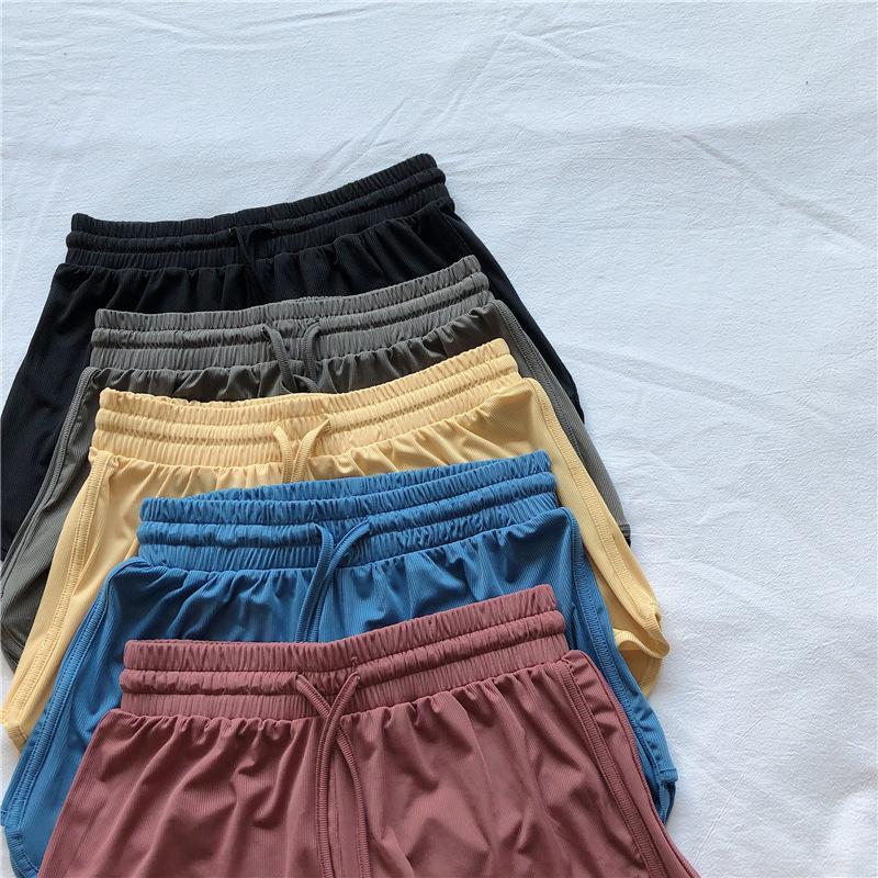 Mulheres Shorts Mulher Verão 2021 Solid Sportswear Bottoms Moda Elastic High Waist Ropa de Mujer Gym Roupas Fitness Multicolor