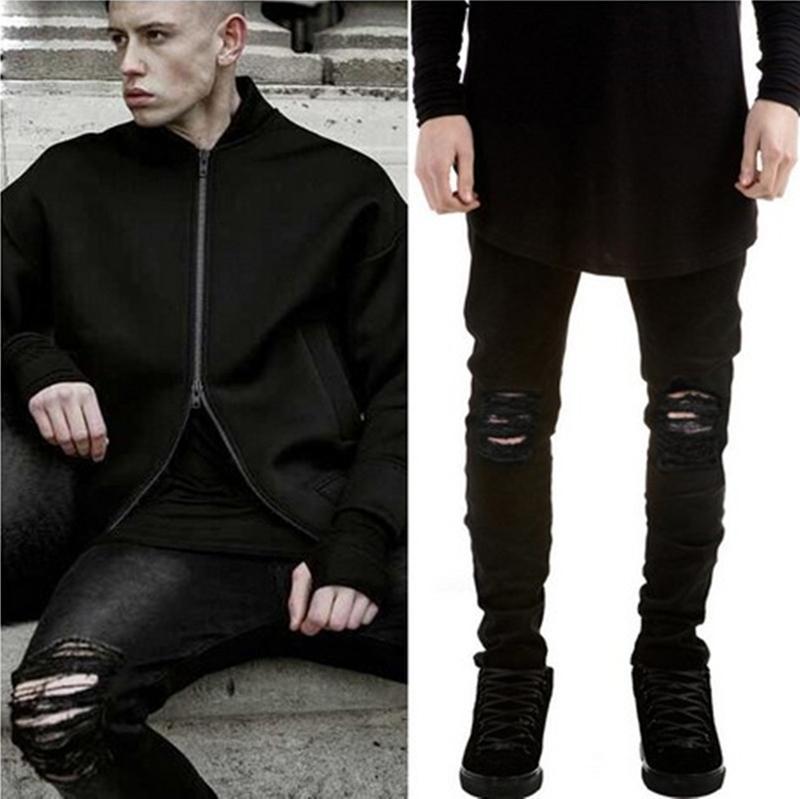 Marka Yeni Yırtık Kot Erkek Siyah Yırtık Pantolon Erkek Ince Diz Yüksek Sokak Yırtık Streç Kot Yaz