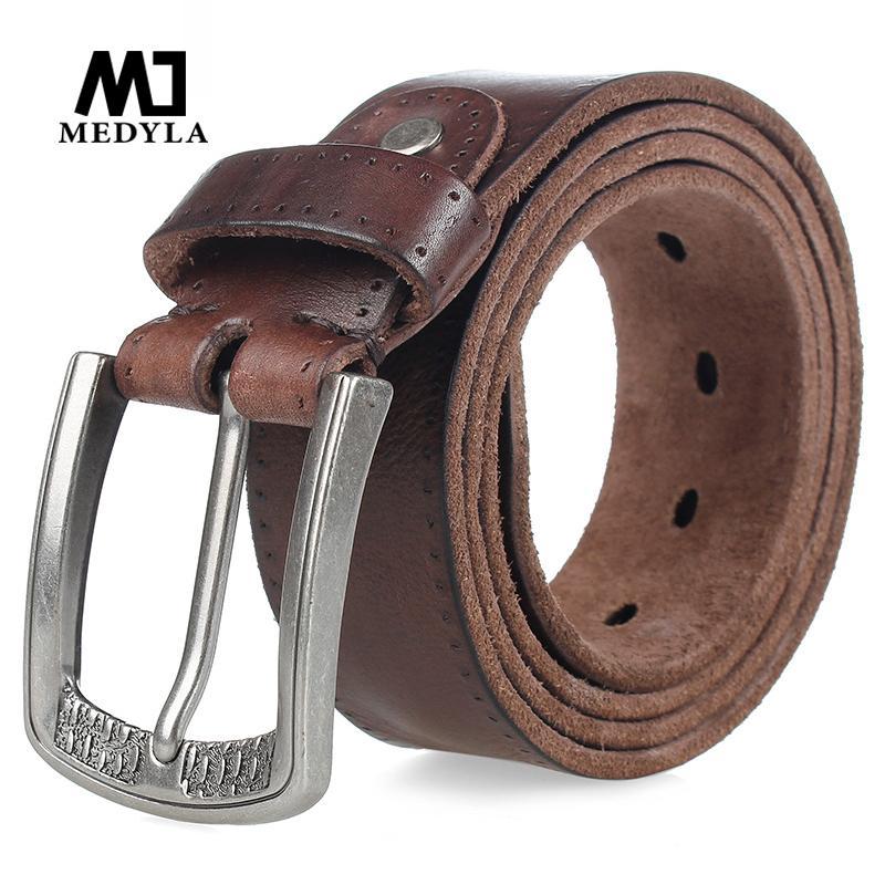 Medyla Fashion Marke Herren Echtes Leder Gürtel Hohe Qualität Legierung Schnalle Casual Retro Braun lange Gürtel 105cm bis 150 cm Dropship 210306