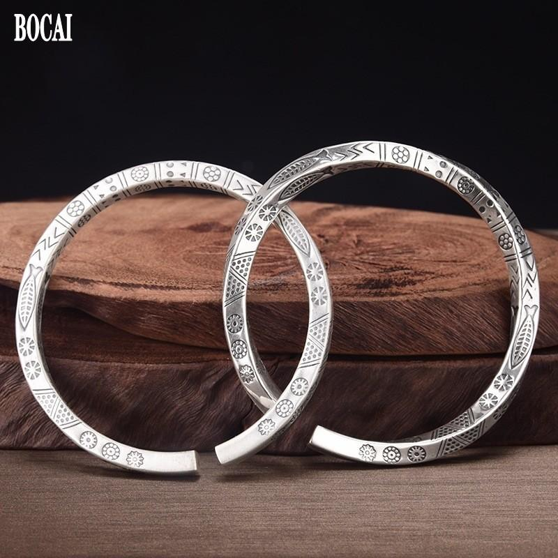 2021 New Real S999 Sterling Sierl Retro Mate / Glossy Sin Cambiar amor Pareja Joyería Hombre y mujer Pulsera Aberturas H5S5