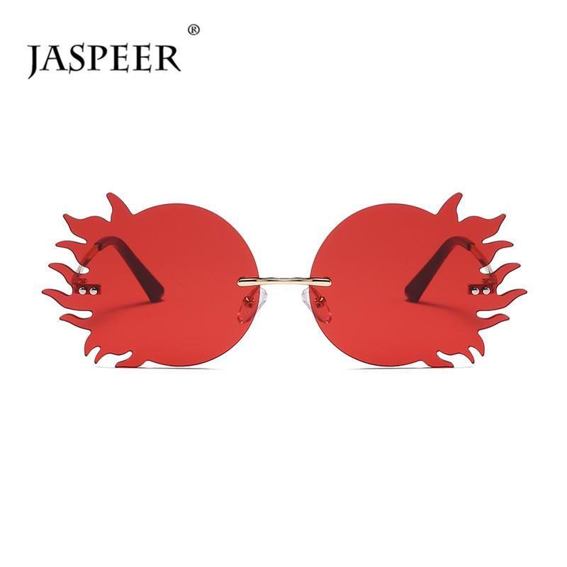 Jaspere Fire Steampunk Gafas de sol sin montura Hombres Punk UV400 Conducción Gafas de sol Mujeres Sin marco Gafas de sol Ladies Fashion Eyewear