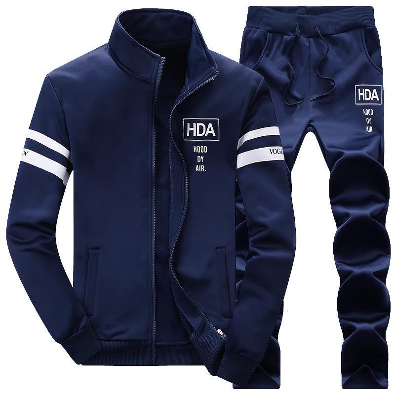2021 Толстовка Cousssit + Установить спортивные штаны Новый бренд Осень осенью зима 2 шт. Стенд воротник воротник молнии флис пэчворк повседневная капюшон мужчин K5NC