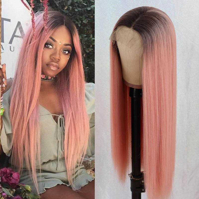 Теплостойкая средняя часть Оммре розовый цвет парик длинные волосы без глиной шелковистые прямые кружевные парики темные корни синтетические парики для черных женщин