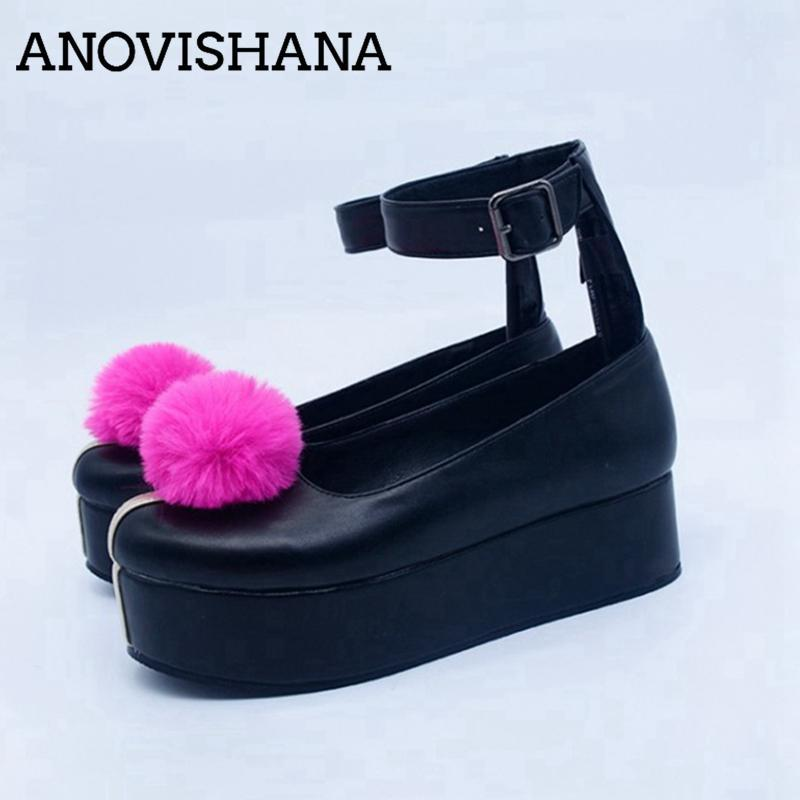Dress Shoes Anovishana Donne Pompe 2021 Punta rotonda Thick Fur Bround Pelliccia Cosplay Fibbia 77 Genshin Impact JanPanese Anime Plus Size 48 c2298