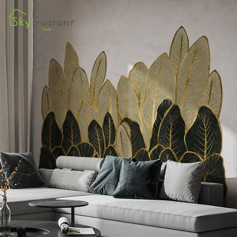 Golden Green Hojas Pegatinas Home Sala de estar Sofá Televado Fondo Decoración de pared Dormitorio Decoración Etiqueta autoadhesiva 210310
