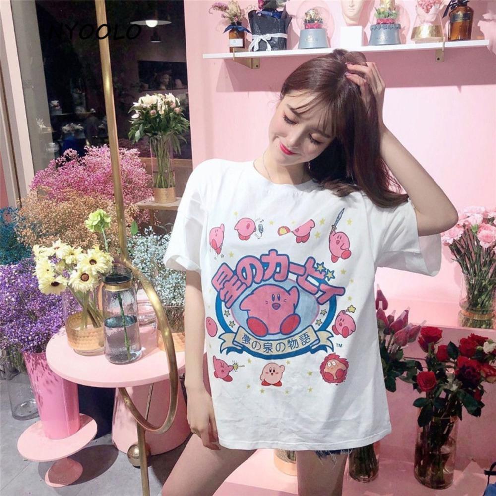 2020 Harajuku Nyoolo Style Kawaii Lettres Imprimer T-shirt à manches courtes Filles Femmes Toile Été Voler O-Cou Tee Shirt Tops C0220