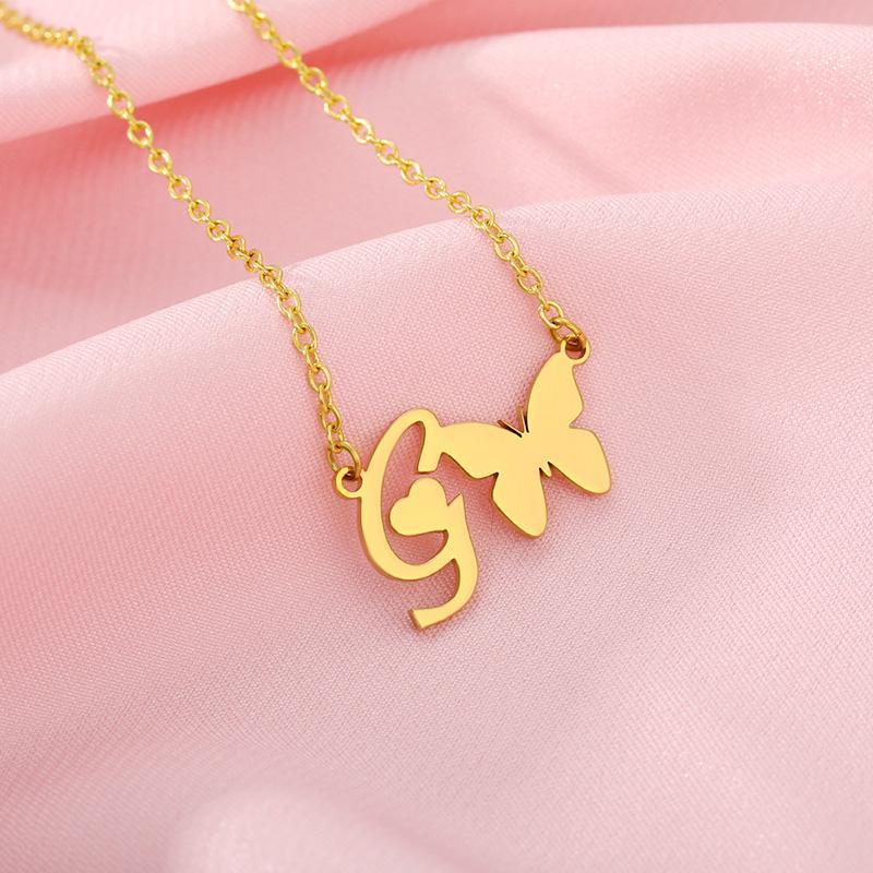 Минимализм минимальные ожерелья для женщин из нержавеющей стали A-Z Письмо Бабочка Choker Ожерелье День рождения Ювелирные Изделия Подарок