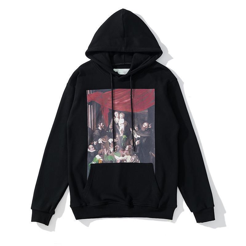 Moda Hip hop paisaje pintura al óleo para hombre con capucha impresa con capucha impresa Unisex Mujeres Casual Harajuku Pullovers Streetwear