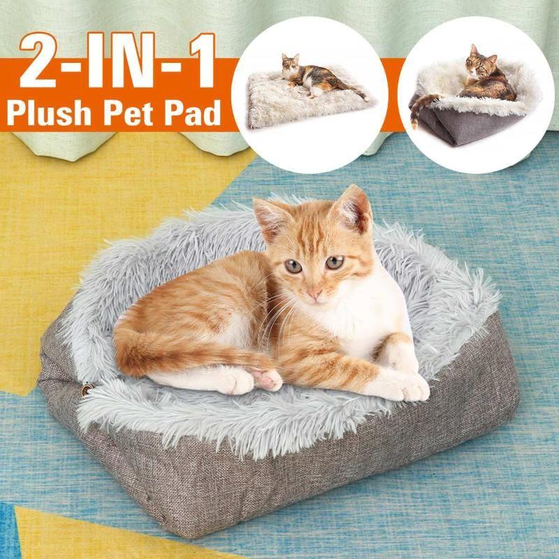 Kennels stifte 2-in-1 dog cat bett herbst winter weich flaumig sofa pet plüsch warm tragbare lieferungen tiere waschbar