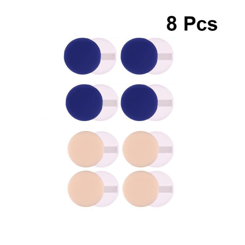 Губки, аппликаторы хлопчатобумажные 8 шт. Удобное сухое и мокрое двойное использование макияж фонда жидкого коврика губка косметики для женщины (синий S