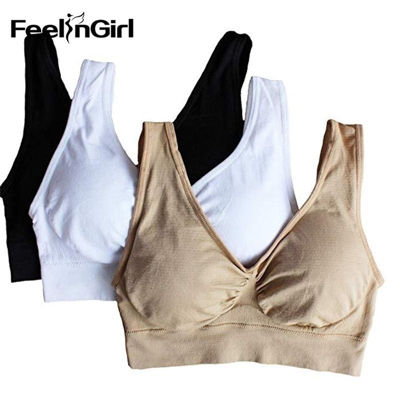 Feendrirl المرأة 3-حزمة سلس الرياضة الصدرية الرياضية مع منصات قابلة للإزالة الجني البرازيلي 3 في مجموعة مبطن برأس زائد الحجم الملابس الداخلية LJ200930