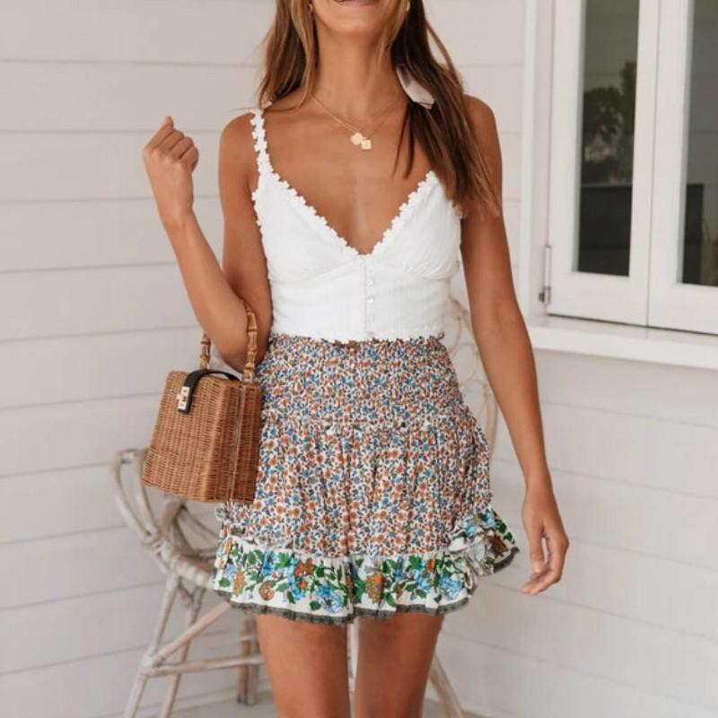 Röcke Boho Sommer Frauen Kurz Mini Lässige Mode Hohe Taille Floral Strand Rüschen Elastische A-Linie Weibliche Mädchen Kleidung