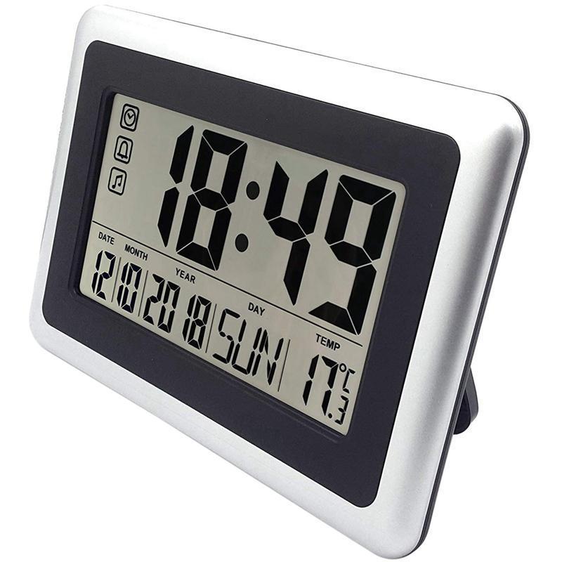 Reloj de pared digital de pantalla grande, relojes de estanterías de escritorio silencioso, operado por batería, fácil de leer, ropa de alarma para mesas de noche sin lig de noche