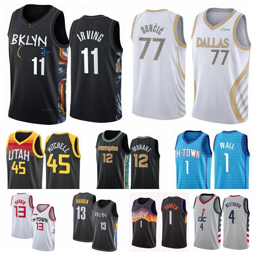 Мужчины 1 John Jersey Wall 13 Harden Ja 12 Morant Durcic Durant Irving Booker Basketball Jerseys 2020 2021 Swingman City New Edition белый синий